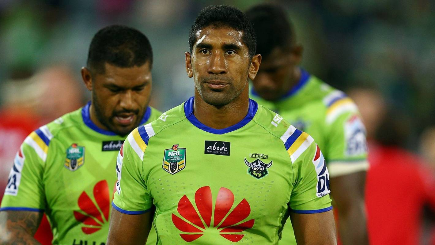 Former Kiwis star Sia Soliola rescued from the surf during Raiders pre-season swim