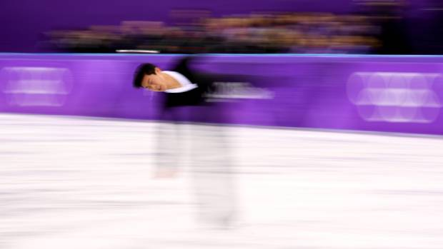 Nathan Chen spins during his routine on Saturday