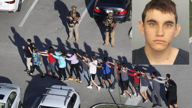 People being led out of the Marjory Stoneman Douglas High School after a shooting at the school that killed 17. Inset: ...