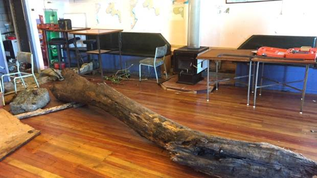 A log ended up inside Titahi Bay Fishing Club