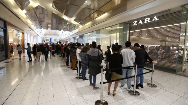 Hundreds of shoppers queued at Sylvia Park, in Auckland, waiting for Zara's doors to open.