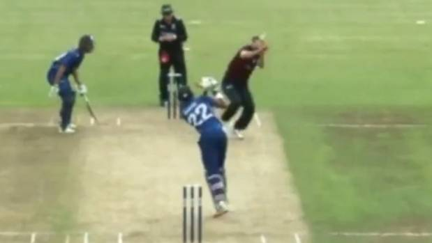 Ball soars over boundary for six after hitting bowler's head