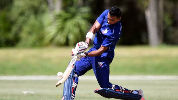 Jeet Raval goes on the offensive during his 149 against Canterbury in the Ford Trophy elimination final