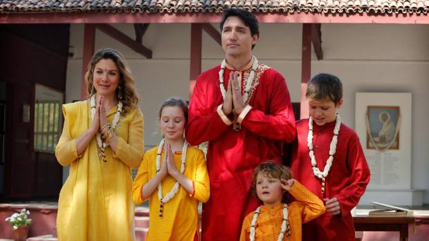 The Canadian Prime Minister Justin Trudeau was mocked for wearing traditional garb when he met his wife and three ...