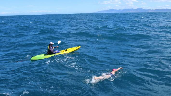 The Cook Strait swim, north to south, took Abhejali Bernardova 13 hours, 9 minutes and 48 seconds.