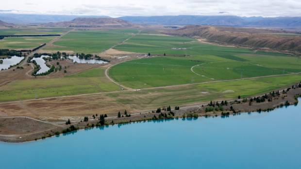 A photo taken in 2016 shows shows irrigation in the Mackenzie country south of Lake Ruataniwha.