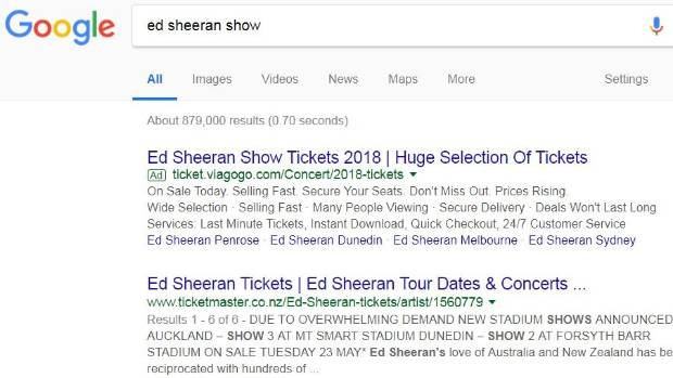 "Google barred ticket resale companies, such as Viagogo from claiming to be an ""official"" source of tickets in its search ..."