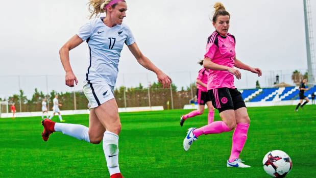 Hannah Wilkinson in action in an international football friendly against Scotland last month.