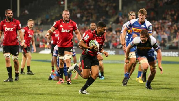 Crusaders first-five Richie Mo'unga, who scored a try and kicked five