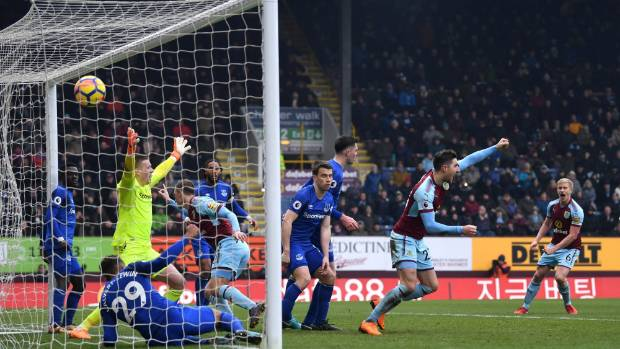 Chris Wood nets the winner for Burnley against Everton