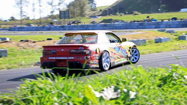 Joel Hedges from C's Garage pedaling his Nissan Silvia (Onevia) around Evergreen Drift Park.