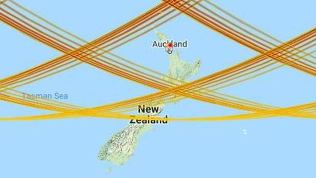 Thet path of China's Tiangong-1 shows where the module crosses over New Zealand, putting the lower North Island-upper ...