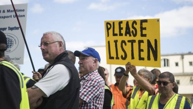 Lyttelton port workers at a protest over wages and rosters outside the Christchurch City Council building last week.