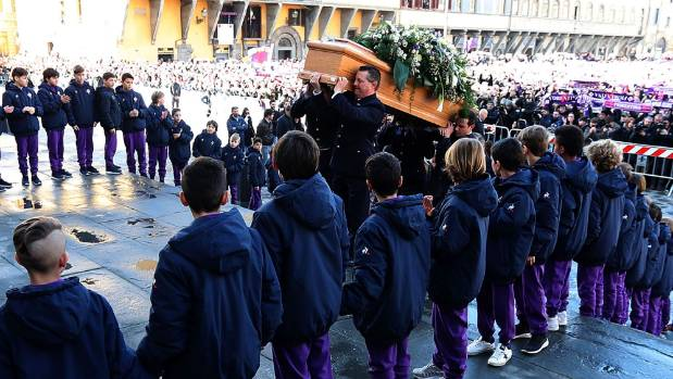 Fiorentina's Davide Astori is farewelled by thousands at his funeral in Florence