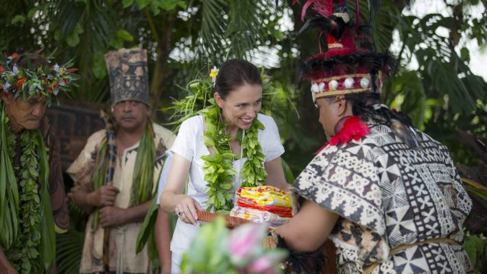 Prime Minister Jacinda Ardern is welcomed at House of Ariki, Cook Islands.