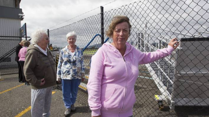 From left, sisters Joyce Hitchlock, Mavis Dillon and Alison Shepherd were upset at the news. Shepherd had flights booked for April - after the service would stop - and had yet to hear from Air New Zealand.