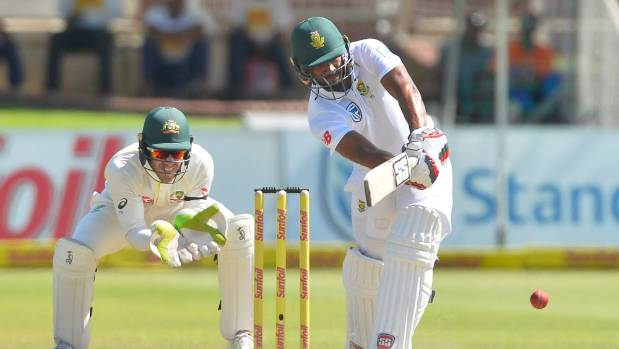 Vernon Philander plays a shot to the leg side for South Africa on day three