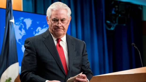 Secretary of State Rex Tillerson steps away from the podium after speaking to reporters following his firing by Donald Trump