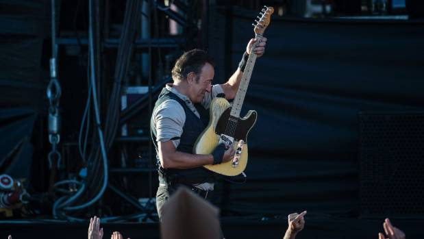 Bruce Springsteen rocking out at his Christchurch gig on February 21, 2017.