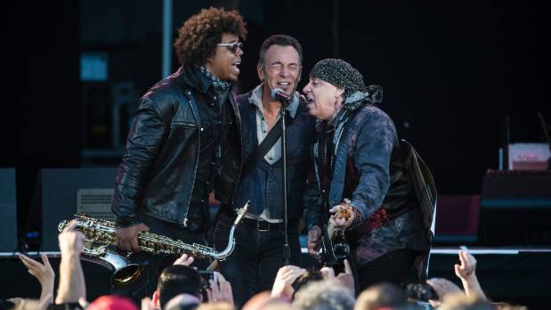Springsteen performs with saxophonist Jake Clemons and guitarist Steven van Zandt in Christchurch in 2017.