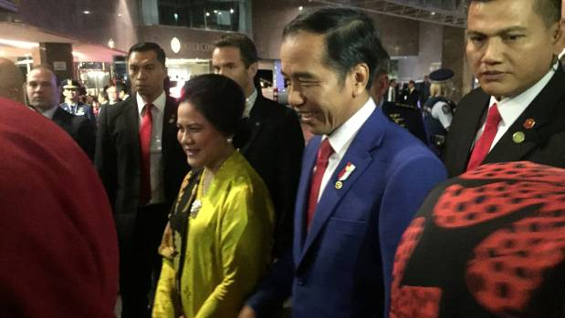 Indonesian president Joko Widodo arrived in Wellington on Sunday.