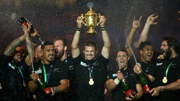 Then-All Blacks skipper Richie McCaw lifts the Webb Ellis Cup following victory in the 2015 Rugby World Cup Final match ...