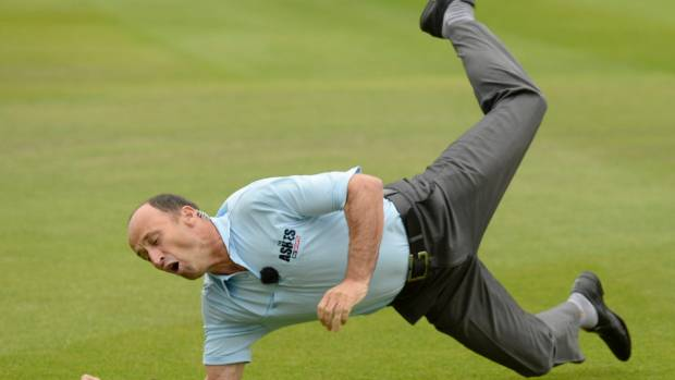 Former England captain Nasser Hussain puts down a catch in his civvies. He is concerned at England's test cricket slide