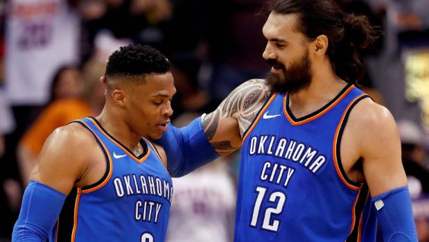 Steven Adams and'old mate Russell Westbrook will need to be at their best to get past the Jazz in the first round