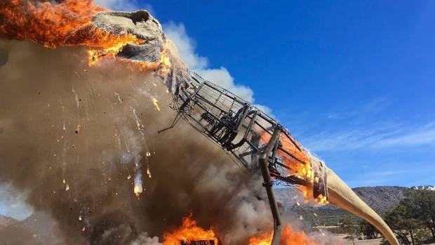 Rex bursts into flames at Colorado dino park