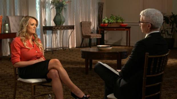 Stormy Daniels is pictured during an interview with Anderson Cooper about her alleged affair with Donald Trump.