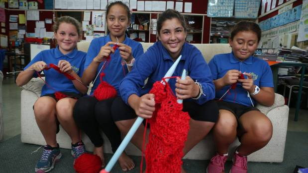Knitting Nannies, from left, Nina Thomson (10), Sonny Thompson (12), Micah Pyle (12) and Ahreen De Vries (9) of Waingaro ...