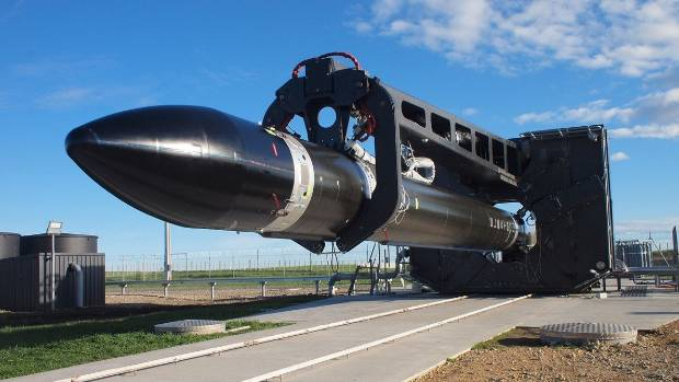"""Electron rocket """"It's A Test"""" at Launch Complex 1 on the Māhia Peninsula."""