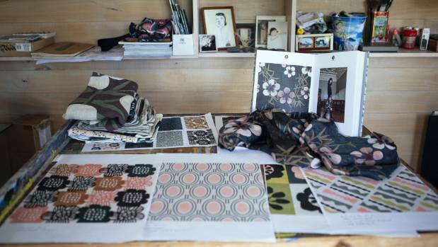 Curios and patterns are laid out in Baudry's studio.