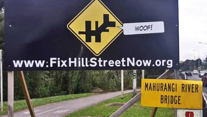 The Fix Hill Street Now action group's billboard raises awareness around the Warkworth intersection.