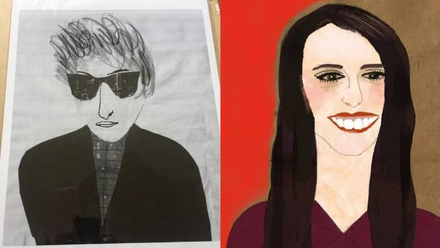 Baudry also does portrait art using collage techniques, some are commissions like Bob Dylan on left, or homages, like ...