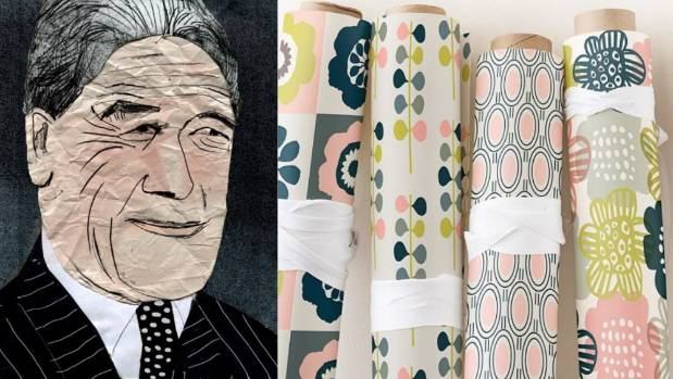 Left, a portrait of Winston Peters by Baudry, right, some of her wrapping paper designs.