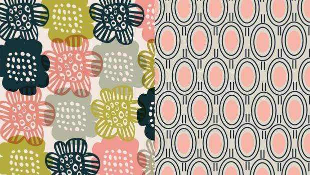 Left, a pattern produced by Baudry that is a favourite with her twin sister. Right, this pink and black art ...