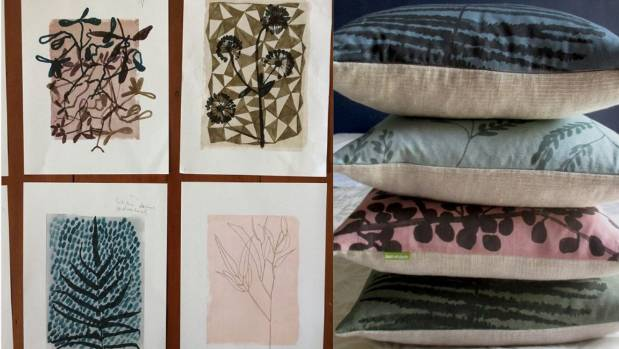Left, botanical designs on the wall in Baudry's studio. Right, her winning Wilderness collection captured on cushions.