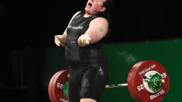 New Zealand's Laurel Hubbard reacts after failing to make a lift in the snatch of the women's +90kg weightlifting final