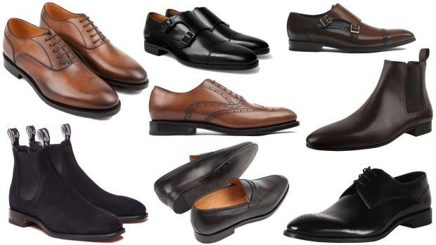 Clockwise from left: Crane Brothers plain-toe Oxfords in Nut Brown, $950; Hugo Boss Kensington monkstrap shoes, $503; ...