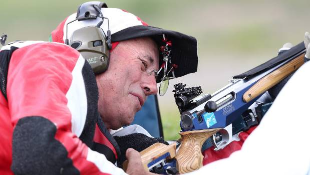 Shooter Robert Pitcairn competes in the Queen's prize pairs on Tuesday