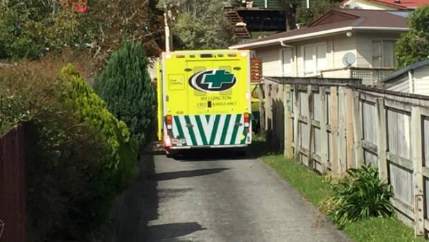 An ambulance attends the incident in Manurewa Grove, Wainuiomata.