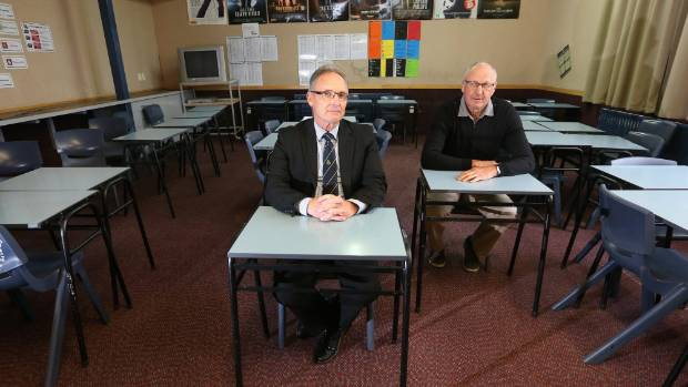 Marlborough Boys College principal Wayne Hegarty, left, and Marlborough Girls' College board chairman Bernie Rowe are ...