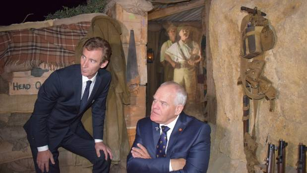 Wellington actors Jed Brophy, left, and Mark Hadlow in front the Quinn's Post Trench Experience, in which Lt Col William ...