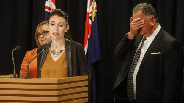 The power of a photograph. Regional Economic Development Minister Shane Jones holds his face in his hand.