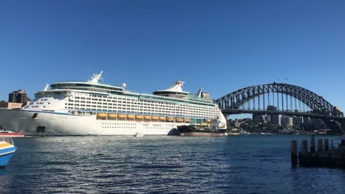 Voyager of the Seas docked in Sydney Harbour.