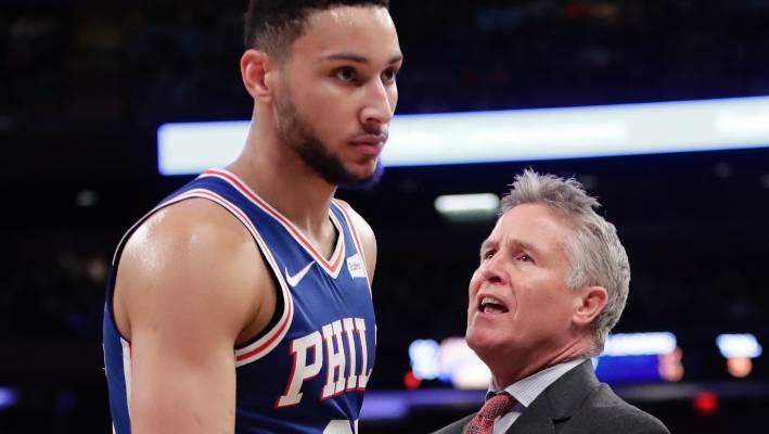 47a87c640 Philadelphia 76ers head coach Brett Brown talks to his young star Ben  Simmons.