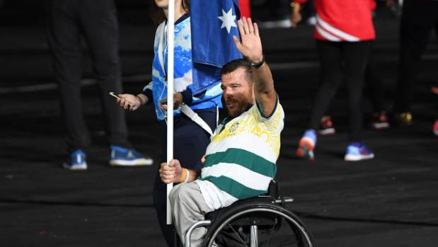 Aussie para athlete Kurt Fearnley was rarely shown on the coverage as he led his team into the ceremony.