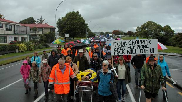 Protest march: Keep Taupō's Greenlea rescue helicopter chant group