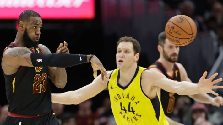 44bc828e8af Cleveland Cavaliers  LeBron James flicks out a pass against the Indiana  Pacers  Bojan Bogdanovic